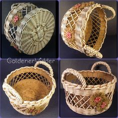 also handy and quick to weave Newspaper Basket, Newspaper Crafts, Paper Weaving, Weaving Art, Willow Weaving, Basket Weaving, Sewing Baskets, Wicker Baskets, Log Decor