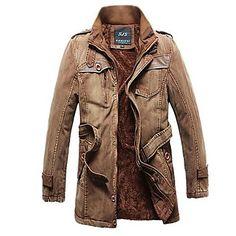 moda y cachemir largas secciones térmicas de los hombres de lavado de algodón rompevientos abrigo de algodón de vaquero chaqueta masculina – EUR € 44.35