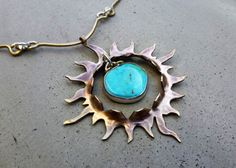 Sun Necklace with Turquoise, Golden, Throat Chakra, Talisman for Power, Strength, Energy, Clarity, Protection, Peace, and Good Luck by SilviasCreations on ETSY
