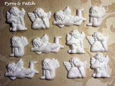 Set di 12 bianco gesso Angels adatta per la di PyrosePatch su Etsy