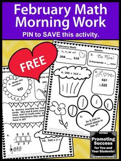 You will download FREE math no prep worksheets with a fun February or Valentine's Day theme.They work well for teaching kids Common Core 3rd grade skills as review activities, homework, daily morning work, test prep or extra practice for student with autism or special education. This freebie sample also works well in your emergency sub plans. Skills include place value to the thousands, comparing numbers, addition and subtraction, Roman numerals, multiplication, word problems and more.