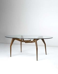 Ico Parisi Attributed; Walnut and Glass Table, 1950s.