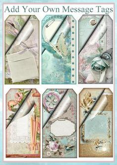 Add Your Own Message Feminine Tag Set on Craftsuprint designed by Eileen Mikolayunas - With a Unique Turned Page Element in the Upper Left Hand Corner of each Tag, these Oh So Shabby Floral Tags provide an Area where you may Journal Your Own Thoughts and Wishes.This Elegant Tag Set would be a great addition for Gift Wrapping, or used as a Topper or an Insert for a Variety of Greeting Card Projects. Enjoy! - Now available for download!
