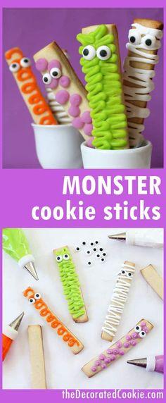 easy monster cookie sticks for Halloween -- great Halloween dessert idea