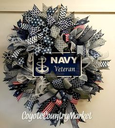 United States Navy Veteran Mesh Wreath, USN Wreath, Veteran Wreath, US Navy Door Wreath, US Navy Veteran Wreath, Military Wreath, #Veteran by CoyoteCountryMarket on Etsy