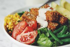 breaded tofu nuggets, cobb style salad and a creamy ranch.