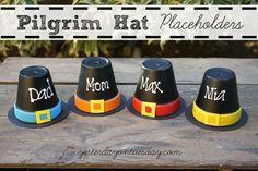 Hometalk :: Pilgrim Hat Placeholders For Thanksgiving using terra cotta pots