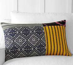 "Pauline Boyd Patchwork Nightstorm Stripe Pillow Cover, 16x26"", Multi"