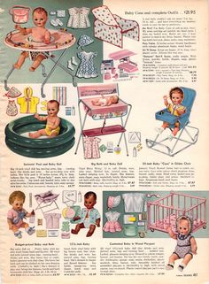 had the blue doll rocker.and wooden playpen. Antique Dolls, Vintage Dolls, Vintage Ads, Vintage Images, Christmas Books, Vintage Christmas, Christmas Catalogs, Childhood Toys, Childhood Memories