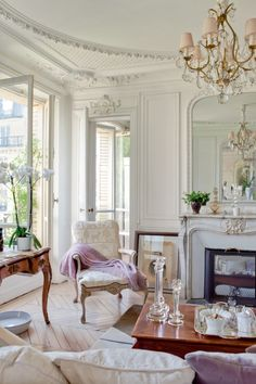 French-Inspired Interior Design + Detail of the living room.