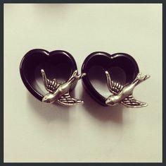 16mm Black Heart Swallow Ear Plugs on Etsy, $21.30
