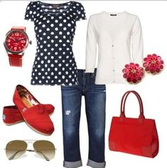Black and white polka dot top, cuffed up jeans, white cardigan, and red toms! Match it up with red accessories!  Retro style