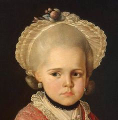 '' portrait of a girl '' (Detail ) by Sergeev Matvey. 18th century. Location : Hermitage Museum