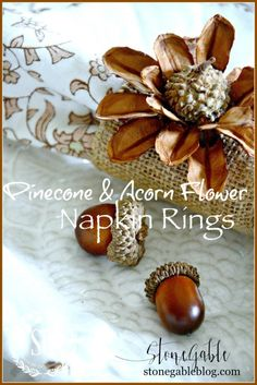 Anyone can make these gorgeous, organic pine cone and acorn flower napkin rings with a toilet paper roll, a scrap of burlap and some organic bit and pieces!