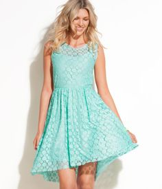 Sleeveless, flared lace dress with seaming at waist and concealed side zip. Lined. $34.95
