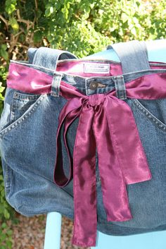 Denim Jean Bag Purse maroon satin lining by MissTiasTreasures