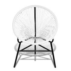 Ovalen rieten stoel (wit)
