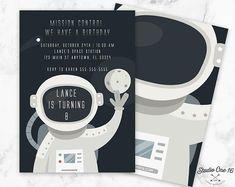 Astronaut Birthday Invitation, Space Birthday Invitation, Space Party Invite, Space Invitation, Astronaut Invitation, Space Invite, AT01
