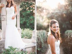 David's Bridal bride Amanda in a classic sweetheart strapless lace mermaid wedding dress.