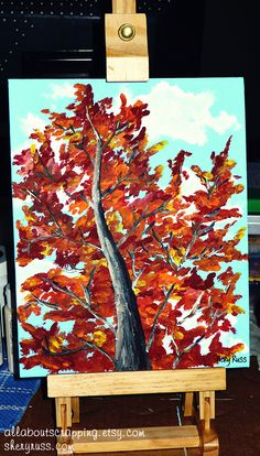 "2012-12-08: ""Fallin' for Autumn"" - 8""x10"" acrylic on canvas board. this was my first attempt at painting a tree. i was inspired by artist Ben Saber's technique. i sent this one to my mom for Christmas :o)"