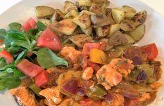 Zalmpotje op zijn Italiaans met gebakken aardappelen