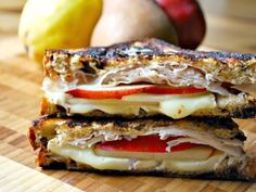 Grilled Turkey, Pear & Brie Sandwiches. I made this last night. Delicious!