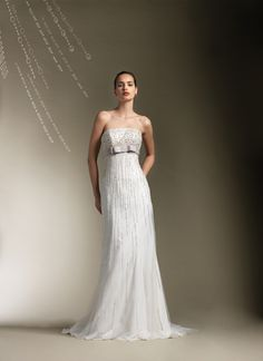 Top Sale Wedding Gown with Strapless Column and Shining Sequin