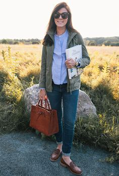 Madewell jacket & loafers, Mansur Gavriel bag