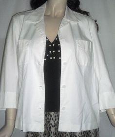 Rafaella Size 14 White Cotton Blend 3/4 Sleeve Button Front Jacket #Rafaella #BasicJacket