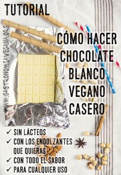 Tutorial: how to make vegan white chocolate Vegan Sweets, Vegan Desserts, Raw Food Recipes, Sweet Recipes, Vegan White Chocolate, Chocolate Blanco, Fromage Vegan, Gateaux Vegan, Vegan Pastries