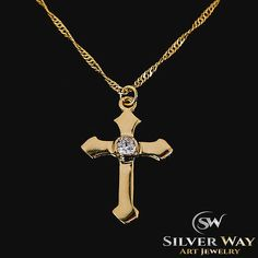 Men Woman Necklace Cross Pendant Fashion Christian Gift Gold Plated Swarovski