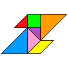 Tangram Letter Z - Tangram solution #116 - Providing teachers and pupils with tangram puzzle activities