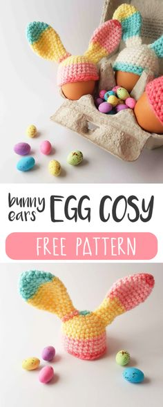 Free bunny ears egg cosy crochet pattern - Thoresby Cottage // Easter table decor // Easter fun for kids
