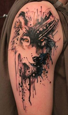 Wolf watercolor tattoo - 65+ Examples of Watercolor Tattoo