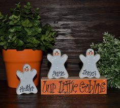 halloween block set personalized wood block love set home decor primitive block gift holiday wood sign personalized halloween decor - Personalized Halloween Decorations