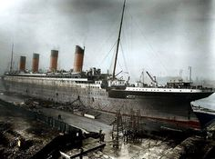 The RMS Titanic near completion at Harland and Wolff shipyards in Belfast, Northern Ireland, in 1911. - The RMS Titanic was one of the most opulent liners to have ever been built and the largest steamship in the world. It struck an iceberg on its maiden voyage from Southampton, England, to New York City and sank on April 15, 1912. The ship that was once pronounced unsinkable. Photo, colorized version