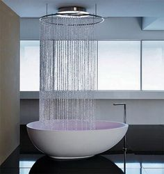 Very cool idea - would probably need a different shower curtain not sure about practical if the water will stay inside the tub or splash out - but very cool.