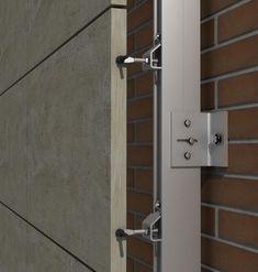 Solución para fachadas ventiladas Sistema Masa PF-ALU/CLA ARTICULADO Cladding Design, Exterior Wall Cladding, Cladding Systems, Facade Design, House Design, Concrete Cladding, Stone Cladding, Wall Anchors, Signage Design