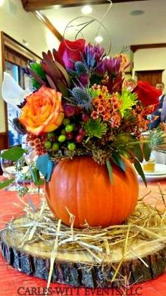 Pumpkin Centerpieces by Carles-Witt Events, / Fresh Flowers Mixed With Artificial Flowers, Beautiful!