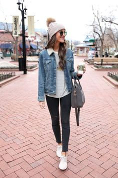 denim jacket / nike juvenate sneakers / winter fashion in boulder, colorado, college fashion outfit ideas for girls for women, fall winter essentials, Winter Fashion Outfits, Fall Winter Outfits, Look Fashion, Autumn Winter Fashion, Womens Fashion, Winter Wear, Winter Style, Mens Winter, Ladies Fashion