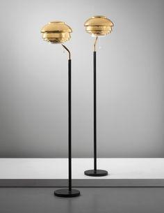 PHILLIPS : UK050313, ALVAR AALTO, Pair of standard lamps, model no. A808, designed for the National Pensions Institute, Helsinki