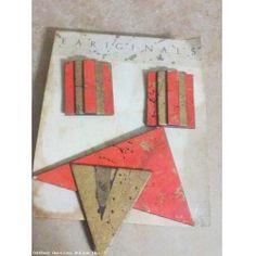 Vintage Tracy Tarling Mc GRENNA Eariginals Paper Brooch & Pierced Earrings Set