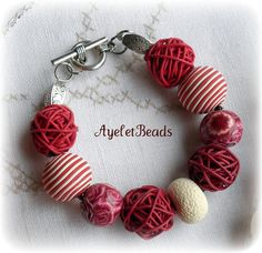 polymer clay bracelet. one of a kind, hand made beads.