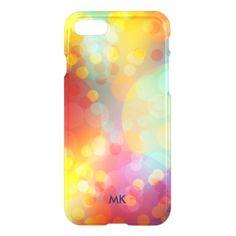 Colorful Bokeh Monogram iPhone 8/7 Case - monogram gifts unique custom diy personalize
