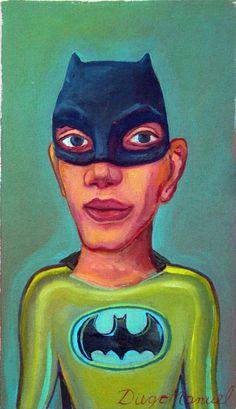 Batman, acrílico sobre tela, 16 x 25 cm. 2015, pinturas de Diego Manuel
