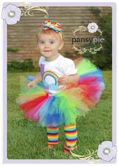 Rainbow Tutu Dress Baby Tulle Dress Newborn by PansyPieBoutique, $18.99