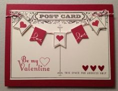 Banner Blast Valentine Card   4 Pack  Stampin Up by JCrafting, $10.00
