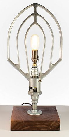 Industrial mixer lamp. Beautiful. Would look just as good ceiling mounted. Love!
