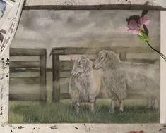 #sheep #art #watercolor #freehand #landscape #illustration Sheep Art, Water Colors, Landscape Illustration, Bambi, Watercolor Art, Painting, Instagram, Watercolor Painting, Painting Art