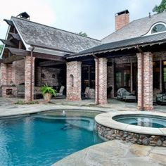 covered patio pool additions to brick home - Google Search